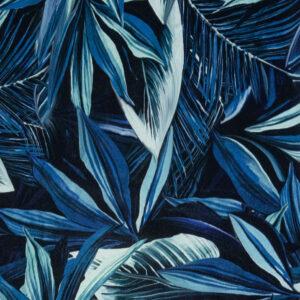 Crêpechiffon, Blattwerk, Palmblätter, Blautöne