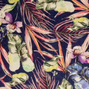 leichter Viskosejacquard, Blüten und Pflanzen, Indigoblau, Koralle, Violett