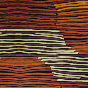 Viskosejersey, Querstreifen, abstrakt gemustert, Orangetöne, Purpur, Schwarz