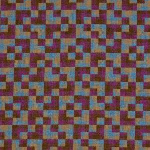 Shetland-Tweed, Kachelmuster, Purpur, Brauntöne, Türkis