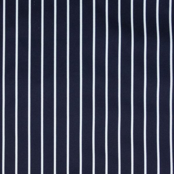 hochwertiger Baumwollsatin, Streifen, Marine, Offwhite