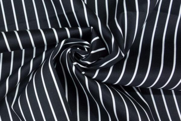 hochwertiger Baumwollsatin, Streifen, Schwarz, Offwhite