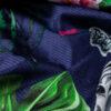 Baumwollsatin, Zebras, Flora und Fauna, Indigoblau, Grün, Pink