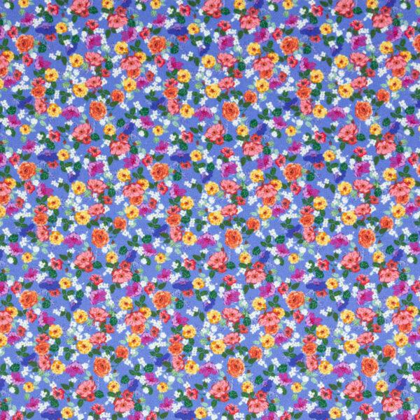 Baumwollsatin, Milles Fleures, Blau, Rottöne, Gelbtöne