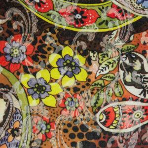 Jacquard, Paisley-Muster, Blumenranken, Animalprint, Orange, Rost, Gelb