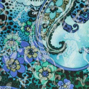 Jacquard, Paisley-Muster, Blumenranken, Animalprint, Blautöne, Türkistöne