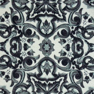 Baumwolljacquard, ornamental gemustert, Schwarz/Weiß, Graugrün