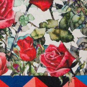 Jacquard, Rosen, grafisch gemustert, Webmuster, Rot, Royalblau, Grüntöne