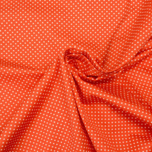 Popeline, Polka Dots (klein), Orange, Weiß