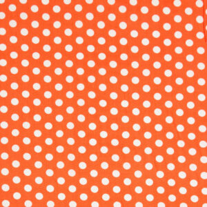 Popeline, Polka Dots (groß), Orange, Weiß