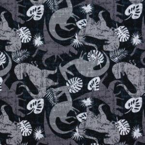 Baumwolljersey, Dinosaurier, Schwarz, Grautöne, Weiß