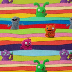 Baumwolljersey, Kindermotive, Rottöne, Gelb, Blautöne