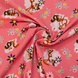 Baumwolljersey, Kindermotive, Pink, Brauntöne, Gelb