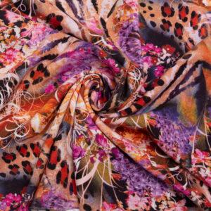 Javanaise, abstrakt gemustert, Schwarz, Lila, Brauntöne