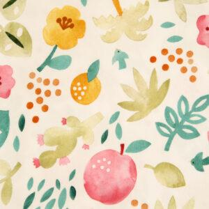 Baumwolljersey, Früchte, Blumen, Offwhite, Grüntöne, Rot