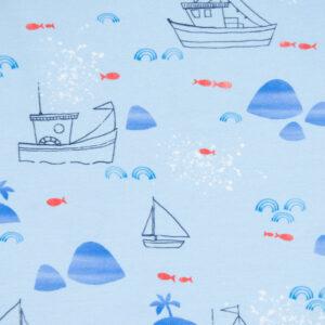 Baumwolljersey, maritime Motive, Blautöne, Rot