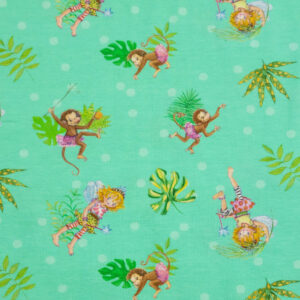 Baumwolljersey, Kindermotive, Grüntöne, Brauntöne, Pink