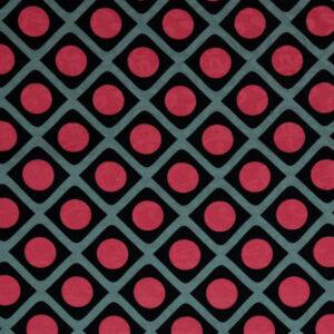 Baumwolljacquard, grafisch gemustert, Schwarz, Graublau, Rot