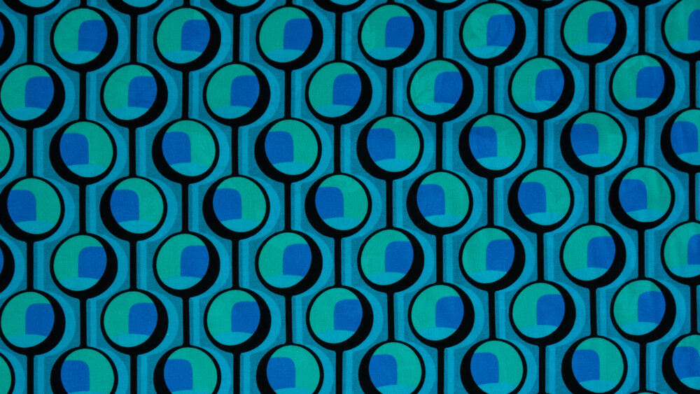 Baumwolljacquard, grafisch gemustert, Blautöne, Türkistöne, Schwarz