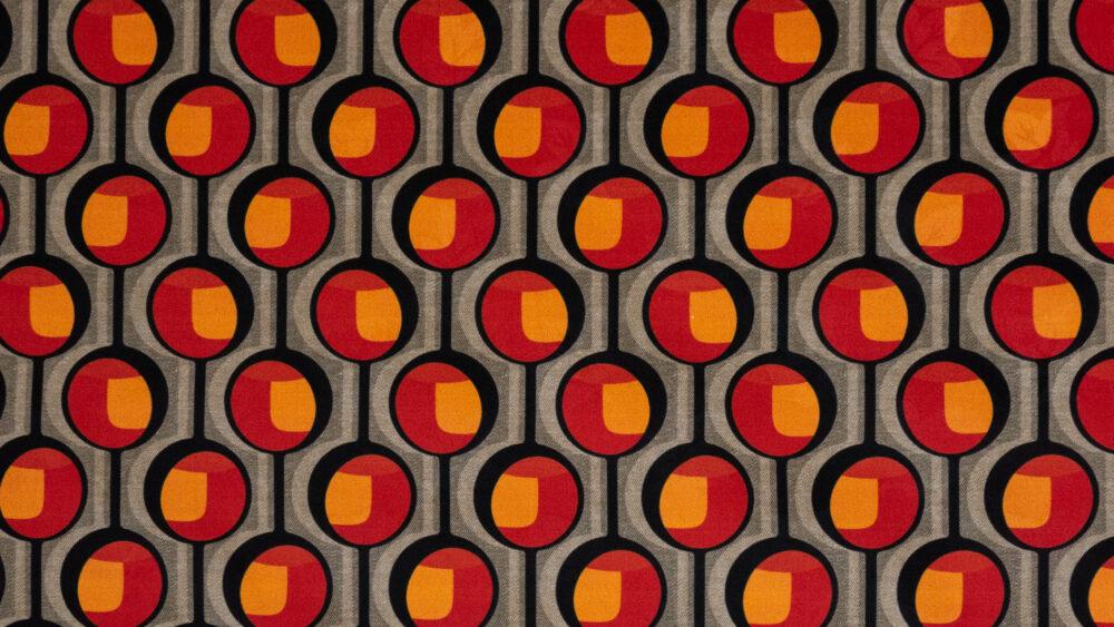 Baumwolljacquard, grafisch gemustert, Brauntöne, Orange, Rot