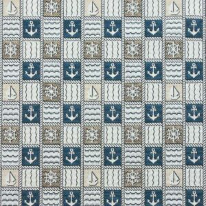 Gobelin, maritim gemustert, Beige, Blautöne, Offwhite