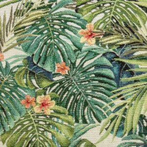 Gobelin, Palmblätter, Grüntöne, Orange hell, Beigetöne