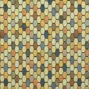 Gobelin, geometrisch gemustert, Gelbtöne, Blautöne