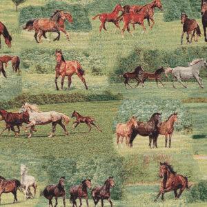 Gobelin, Pferde, Grüntöne, Brauntöne