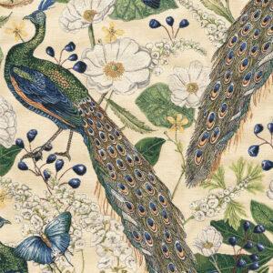 Gobelin, Flora und Fauna, Creme, Blautöne, Grüntöne