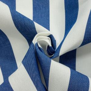 Outdoorstoff, Blockstreifen, Weiß, Mittelblau