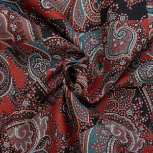 Jacquard, Paisley-Muster, Dunkelrot, Blautöne, Schwarz/Weiß