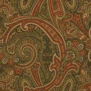 robuster Velour, Paisley-Muster, Grüntöne, Dunkelrot, Beige