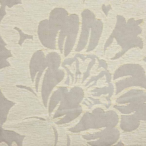Chenillejacquard, Blumenmuster, Cremetöne, Grautöne