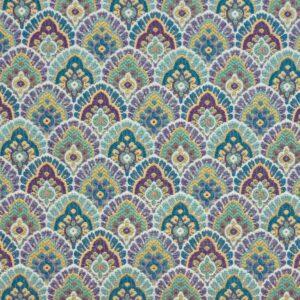 Gobelin, ornamental gemustert, Blautöne, Jadegrün, Lilatöne, Gelbtöne