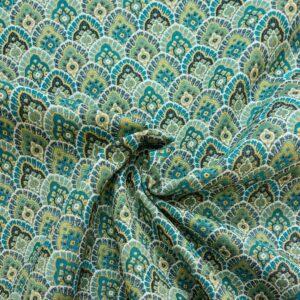 Gobelin, ornamental gemustert, Grüntöne, Blautöne, Jadegrün, Gelbtöne