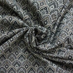 Gobelin, ornamental gemustert, Schwarznuancen, Grau, Weiß