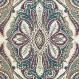 Gobelin, ornamental gemustert, Blautöne, Lilatöne, Cremetöne