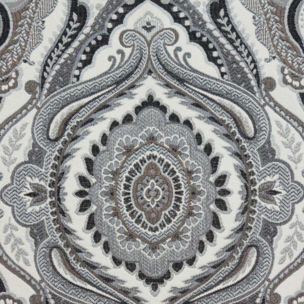 Gobelin, ornamental gemustert, Schwarznuancen, Grautöne, Weißnuancen