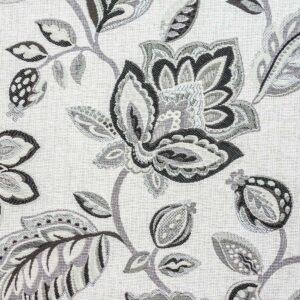 2,80m breiter Jacquard, Blütenmuster, Blütenzweige, Schwarz, Grautöne, Sand