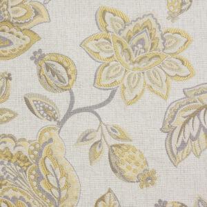 2,80m breiter Jacquard, Blütenzweige, Gelbtöne, Sand, Grautöne