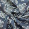 2,80m breiter Jacquard, Blütenzweige, Lichtgrau, Blautöne, Grautöne
