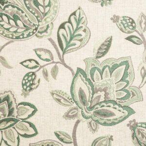 2,80m breiter Jacquard, Blütenzweige, Grüntöne, Grautöne, Creme