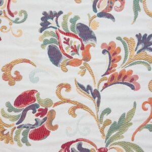 2,80m breiter Jacquard, Blumenranken, Blautöne, Rottöne, Offwhite