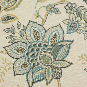 2,80m breiter Jacquard, Blütenmuster, Blautöne, Grüntöne, Creme