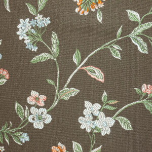 2,80m breiter Jacquard, Blütenzweige, Brauntöne, Blautöne, Rosétöne
