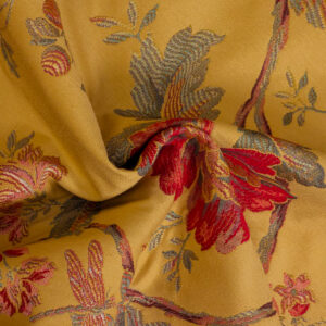 2,80m breiter Jacquard, Blütenzweige, Grüntöne, Rottöne