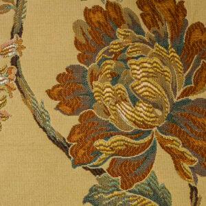2,80m breiter Jacquard, Blütenzweige, Ocker, Brauntöne, Grüntöne