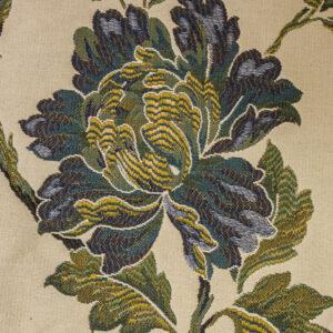2,80m breiter Jacquard, Blütenzweige, Cremetöne, Blautöne, Grüntöne