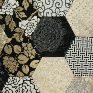 Jacquard, florale Ornamente, grafisch gemustert, Glanzeffekt, Schwarz/Weiß, Gold