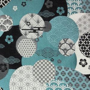 Jacquard, florale Ornamente, grafisch gemustert, Glanzeffekt, Türkis dunkel, Schwarz/Weiß